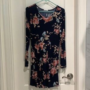 Long Sleeve Cotton Floral Dress- Size small